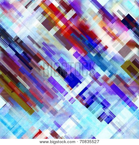 art abstract geometric diagonal seamless pattern; background in blue, white, brown and red colors