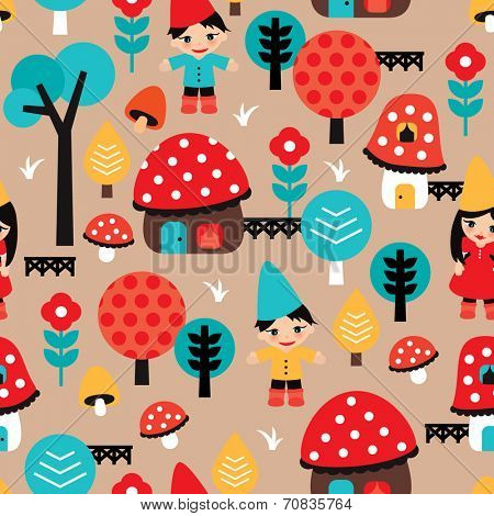 Seamless little gnome and fall woodland mushroom village illustration background pattern in vector