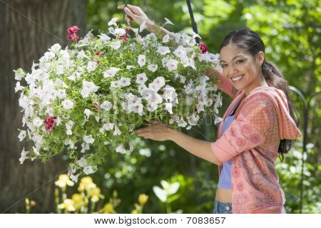 Young Woman In Garden