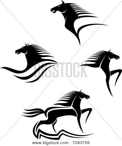 Conjunto de símbolos de cavalos negros