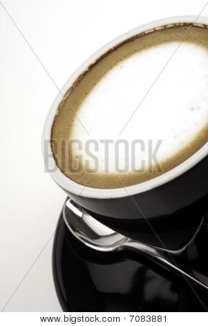 Espresso macchiato shot from an angle