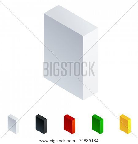Vector illustration of solid 3D letter in isometric view. Alphabet characters. Letter i