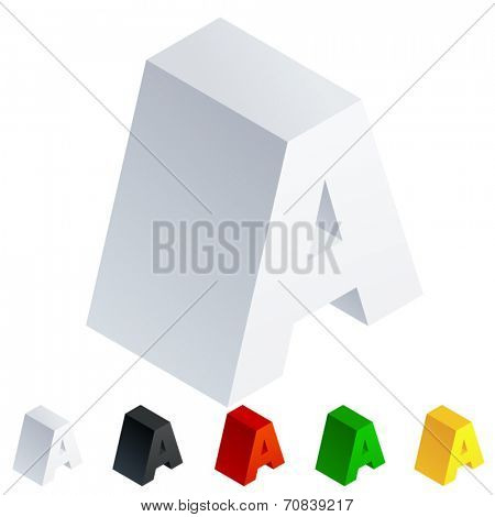 Vector illustration of solid 3D letter in isometric view. Alphabet characters. Letter a