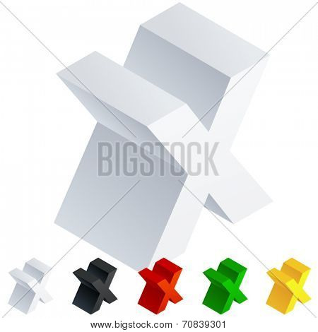 Vector illustration of solid 3D letter in isometric view. Alphabet characters. Letter x
