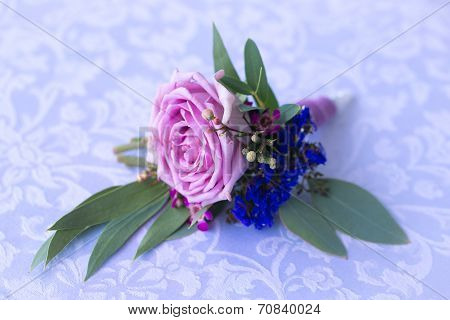 Purple Rose Boutonniere For The Groom. Vintage