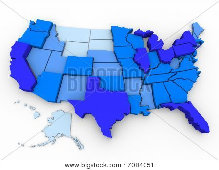 U.s. Population - Map Of Most Populated States