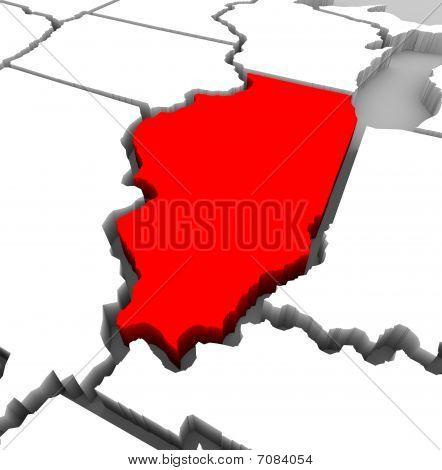 Illinois State Map - 3D Illustration