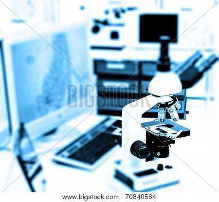microscope in the laboratory of the hospital