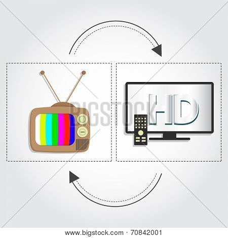 Old Tv And Hd Tv
