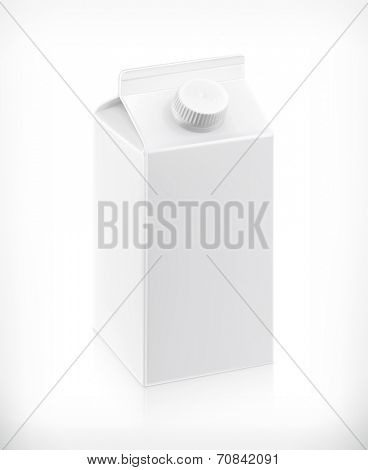 White cardboard milk package, vector illustration