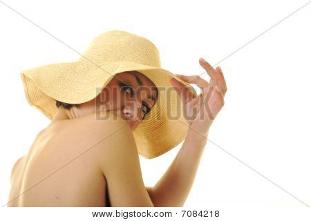 Yong Woman With Summer Hat