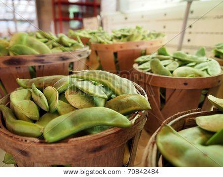Lima Beans In Bushel Baskets