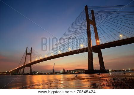 Phu My bridge at Saigon ( Ho Chi Minh City ) , Vietnam. This is the largest bridge in asian