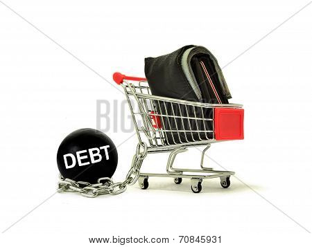 Debt Ball Chained To Cart With Wallet