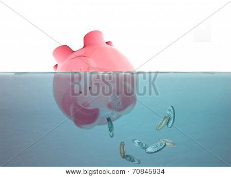 Drowning Piggy With Falling Coins