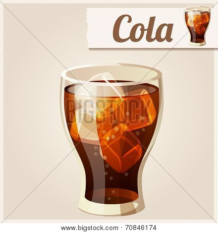 Glass of cola with ice. Detailed Vector Icon.