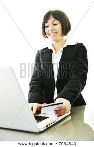 Business Woman making Money online-Transaktion