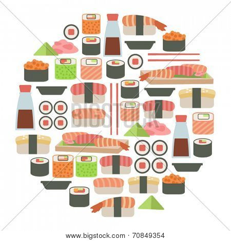 round design element with sushi icons