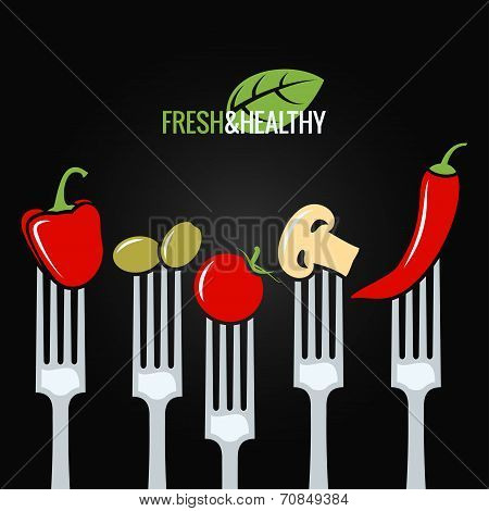 vegetables on fork food design menu background