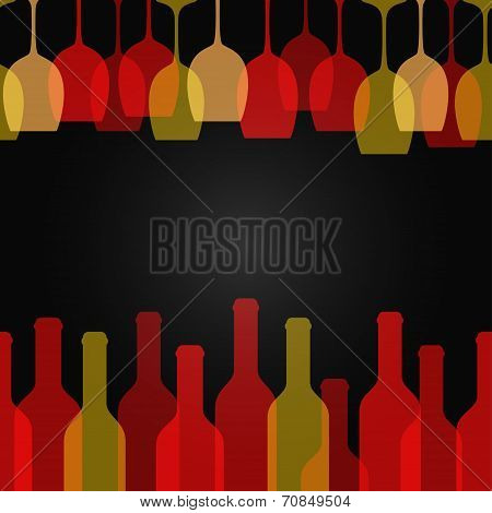 wine glass bottle art design background