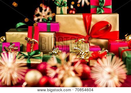 Pile Of Xmas Presents In Plain Colors