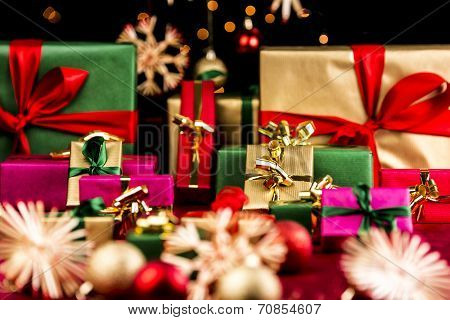Plenty Of Xmas Gifts In Red, Gold And Green