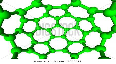 Green Molecular Structures On White Background