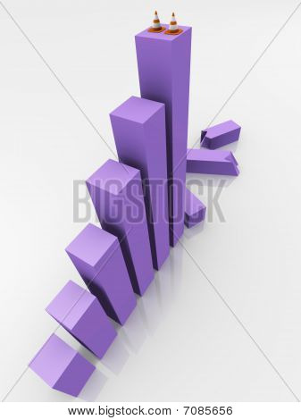 Bar graph crashed, under construction - a 3d image