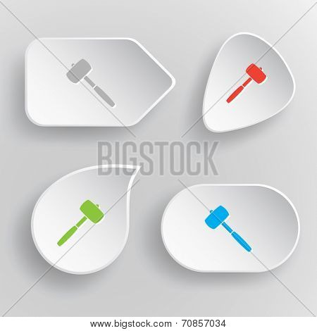 Mallet. White flat vector buttons on gray background.