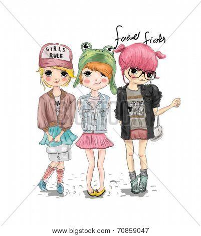 fashion cute girl illustration