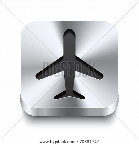 Square Metal Button Perspektive - Airplane Icon