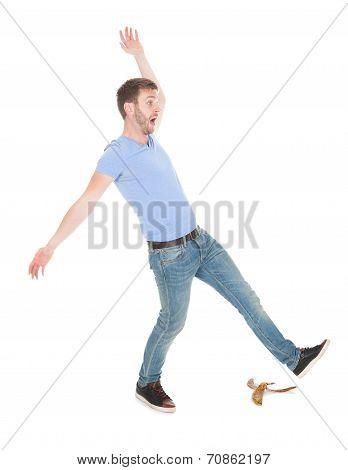 Man Slipping Over White Background