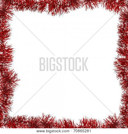 red frame from tinsel isolated on white background