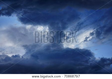 Background of dark clouds before a thunder storm