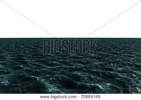 Digitally generated choppy Blue ocean on white background