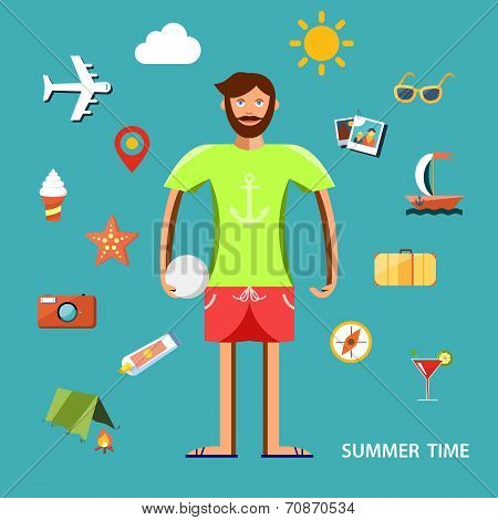 Summertime vector illustration with character and vacation icons set.