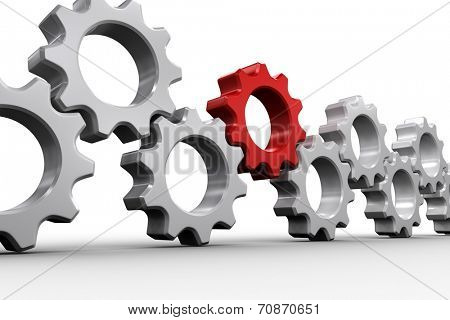 Red and white cogs and wheels on white background