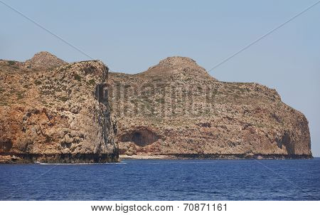 Cretan Coastline In Gramvousa Peninsula. Greece