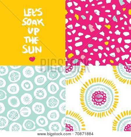 Let's soak up the sun summer typography hand lettering and seamless floral abstract background pattern set in vector