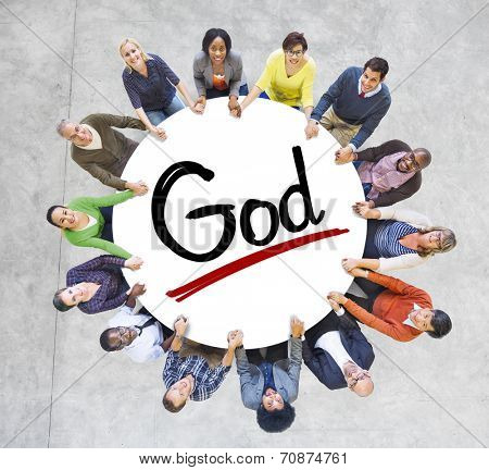 Group of People Holding Hands Around the Word God