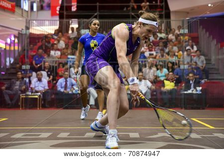 AUGUST 21, 2014 - KUALA LUMPUR, MALAYSIA: Sarah-Jane Perry (front) plays Raneem El Weweily of Egypt in a match at the CIMB Malaysian Open Squash Championship 2014 held in Nu Sentral Mall.