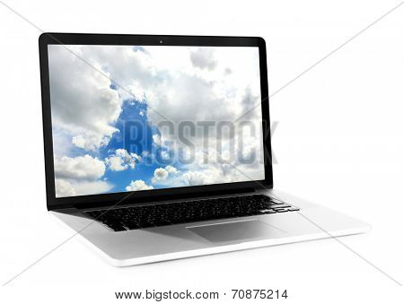 Laptop with screensaver isolated on white