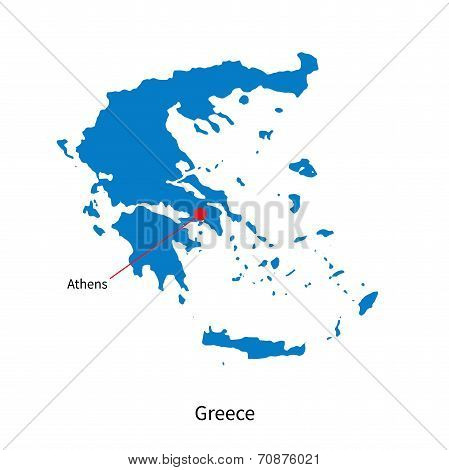 Detailed vector map of Greece and capital city Athens