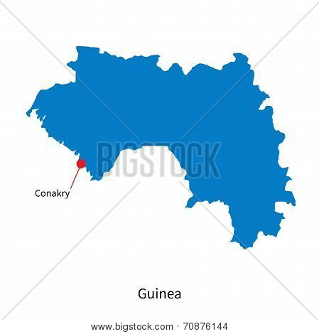 Detailed vector map of Guinea and capital city Conakry