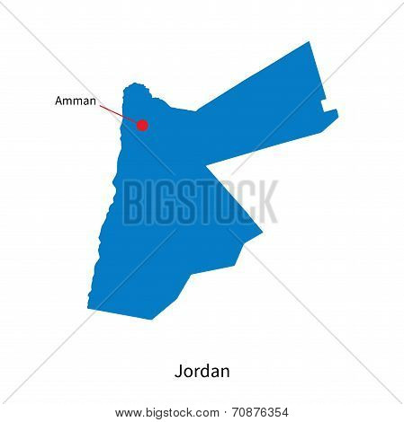 Detailed vector map of Jordan and capital city Amman