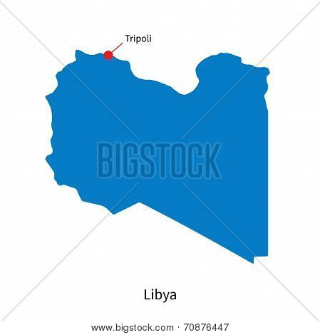Detailed vector map of Libya and capital city Tripoli