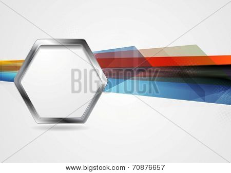 Hi-tech background with metal hexagon shape. Vector design template