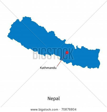 Detailed vector map of Nepal and capital city Kathmandu
