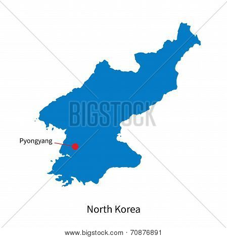 Detailed vector map of North Korea and capital city Pyongyang