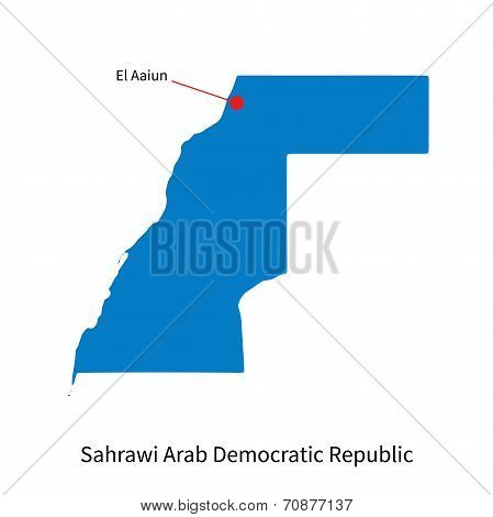 Detailed vector map of Sahrawi Arab Democratic Republic and capital city El Aaiun